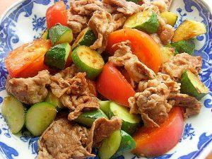 牛肉&トマト&胡瓜の生姜炒め